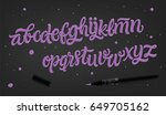 vector hand drawn alphabet.... | Shutterstock .eps vector #649705162