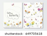 Stock vector set of cute summer card template colorful hand drawn butterfly and leaf vector patterns for 649705618