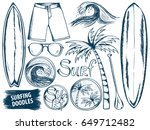 surfing doodles. summer... | Shutterstock .eps vector #649712482