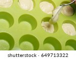 girl's hand puts dough in... | Shutterstock . vector #649713322