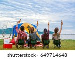 group of man and woman enjoy... | Shutterstock . vector #649714648