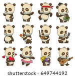 vector set of twelve cartoon... | Shutterstock .eps vector #649744192