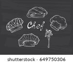 set of hand drawn chef hats and ... | Shutterstock .eps vector #649750306