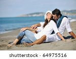 happy young couple in white... | Shutterstock . vector #64975516