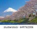beautiful mountain fuji and... | Shutterstock . vector #649762306