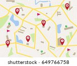 map with red pointer pins and... | Shutterstock .eps vector #649766758