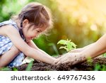 asian little girl and parent... | Shutterstock . vector #649767436