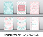 set of baby shower card on... | Shutterstock .eps vector #649769866