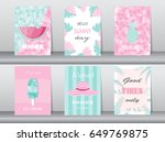 set of summer card on pattern... | Shutterstock .eps vector #649769875