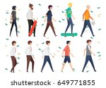 set people walking style in... | Shutterstock .eps vector #649771855
