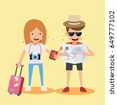 men and women traveler. concept ... | Shutterstock .eps vector #649777102