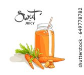 delicious carrot smoothies for... | Shutterstock .eps vector #649778782