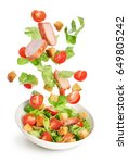 flying salad ingredients... | Shutterstock . vector #649805242