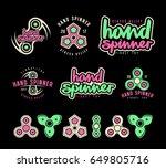 set of hand spinner logo ... | Shutterstock .eps vector #649805716