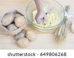 mashed potato preparation | Shutterstock . vector #649806268