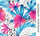 watercolor tropical leaves... | Shutterstock . vector #649806592