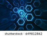 abstract blue of futuristic... | Shutterstock . vector #649812862