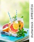 refreshing summer detox...   Shutterstock . vector #649813516