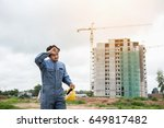 construction engineer tired... | Shutterstock . vector #649817482