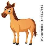 brown horse with brown mane... | Shutterstock .eps vector #649817968
