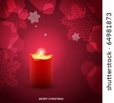 christmas card with red candle | Shutterstock .eps vector #64981873