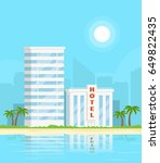 hotel on the beach. beach... | Shutterstock .eps vector #649822435