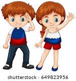 cute boy and girl waving hands... | Shutterstock .eps vector #649823956