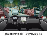 driverless electric car without ... | Shutterstock . vector #649829878
