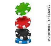 poker chips isolated on white... | Shutterstock .eps vector #649832512