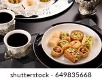 arabian sweets for ramadan and... | Shutterstock . vector #649835668