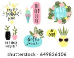 summer lettering set with cute... | Shutterstock .eps vector #649836106
