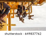 the technicians are installing...   Shutterstock . vector #649837762