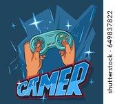 gamer logo. vector cartoon... | Shutterstock .eps vector #649837822