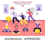 seniors group fitness class... | Shutterstock .eps vector #649846582