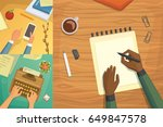 flat design top view on desk... | Shutterstock .eps vector #649847578