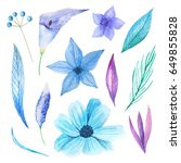 set of watercolor hand painted... | Shutterstock . vector #649855828