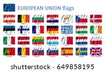 european union flags. set of... | Shutterstock .eps vector #649858195