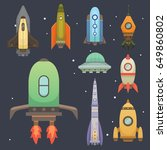rocket ship in cartoon style.... | Shutterstock .eps vector #649860802