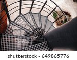 looking down on spiral metal... | Shutterstock . vector #649865776