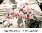 Pink Peonies In Vase On Wooden...