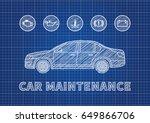 blue print car maintenance... | Shutterstock .eps vector #649866706