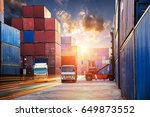 industrial logistics containers ... | Shutterstock . vector #649873552