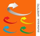 arrow icon vector on orange... | Shutterstock .eps vector #649879792