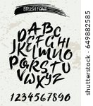 hand drawn font made by dry... | Shutterstock .eps vector #649882585