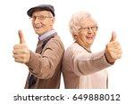 cheerful seniors holding their... | Shutterstock . vector #649888012