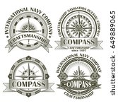 set of vintage compasses with a ... | Shutterstock .eps vector #649889065