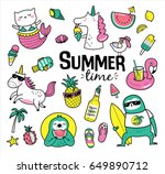 set of cute and fun summer... | Shutterstock .eps vector #649890712