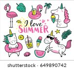 set of cute and fun summer... | Shutterstock .eps vector #649890742