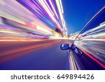 view from side of car moving in ... | Shutterstock . vector #649894426