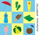 summer icons set. doodle vector ... | Shutterstock .eps vector #649897762